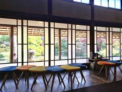 C & A stools on display at Hakusansonso in Kyoto